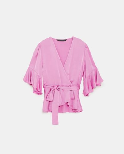 Satin Crossover Blouse